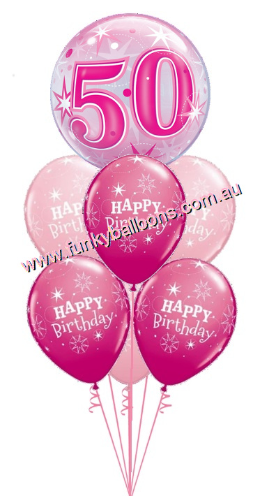50th Pink Starburst Bubble Birthday Bouquet