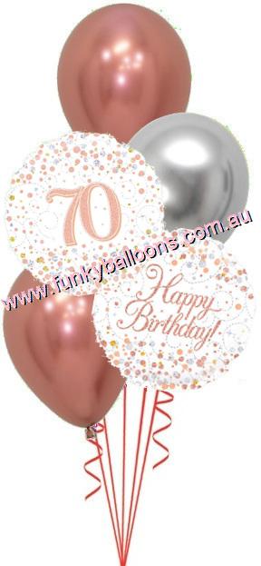 70th Fizz Rose Gold Birthday Bouquet