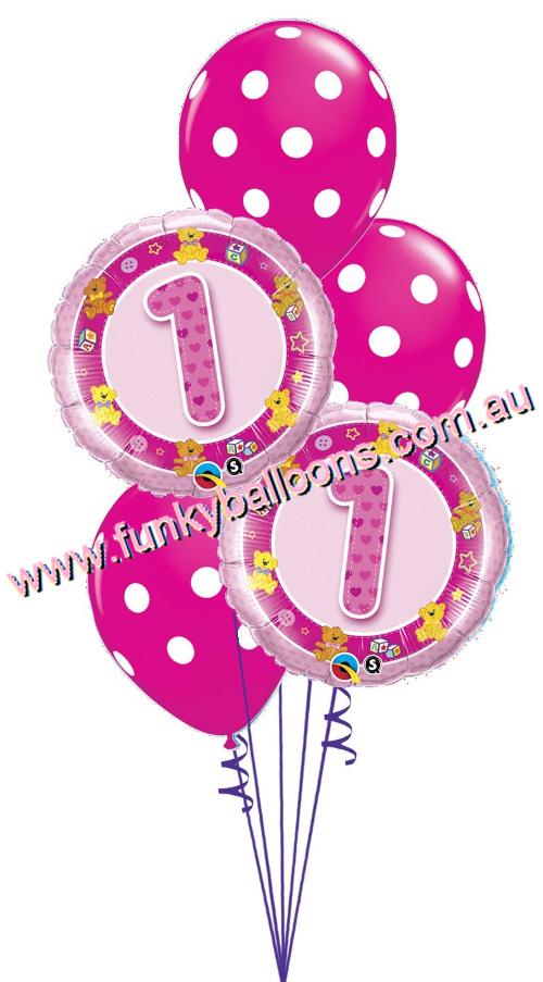 Pink 1st Birthday Teddies Bouquet