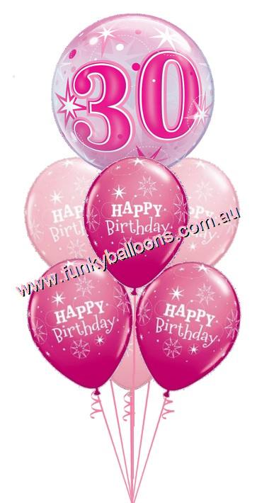 30th Pink Starburst Bubble Birthday Bouquet